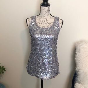 Chicks grey, silver and purple sequins tank top